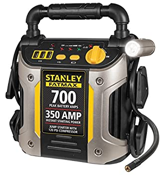STANLEY FATMAX J7CS Portable Power Station Jump Starter  700 Peak/350 Instant Amps 120 PSI Air Compressor 3.1A USB Ports Battery Clamps