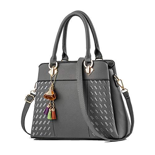 SDINAZ Damen handtaschen Mode Schultertaschen PU leder Shopper Umhängetaschen Grau