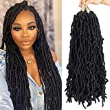 7 Packs Nu Soft Locs Crochet Braids 22 inch Goddess Faux Locs Crochet Hair Soft Gypsy Loc Crochet Curly Wavy Twist Synthetic Braiding Hair African Roots Dreadlocks Hair Extensions (18 roots,1B#)