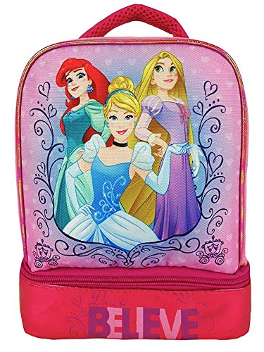 Girls Licensed Princess Believe Insulated Lunch Bag Dual Compartment