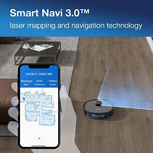 Ecovacs DEEBOT 950 Robot con Tecnología Ozmo y Smart Navi 3.0, 200 min + Turbo, 40 W, 66 Decibeles, Negro