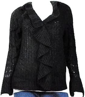 Women's Cardigan Sweater with Cascading Neckline Detail Black