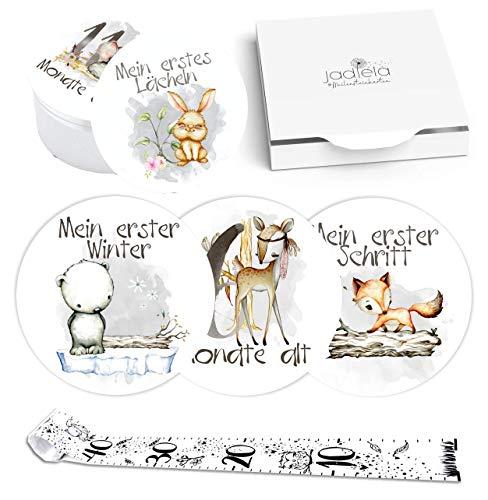 Jadiela 44 Runde Baby Meilensteinkarten Mädchen und Junge inklusive Maßband und Geschenkbox, Baby Meilenstein Karten als Geschenkidee zur Schwangerschaft, Babyparty, Geburt, Taufe, Made in Germany