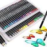 Ensemble de 50 vrais stylos pinceau, 48 stylos pinceau aquarelle et 2 stylos à eau pour haletant coloriage dessin calligraphie