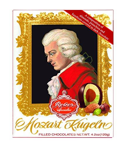 Reber Mozart-Barock, Echte Reber Mozart-Kugeln, Pralinen aus Zartbitter-Schokolade, Marzipan, Nougat, Tolles Geschenk, 12er-Packung