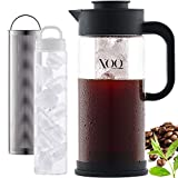 XOQute Cold Brew Coffee Maker with Cooling Element - 50oz/1.5L Airtight Iced Coffee Maker - Iced Tea Maker with Removable Stainless Steel Filter, Large Robust Borosilicate Glass Pitcher, Non-Slip Base