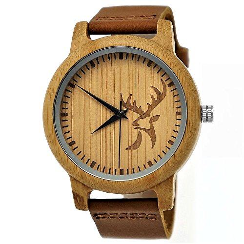 Handgefertigte Holzwerk Germany ® Designer Hirsch Öko Damen-Uhr Herren-Uhr Unisex Öko Natur Holz-Uhr Leder Armband-Uhr Analog Klassisch Quarz-Uhr in Braun mit Hirsch Motiv