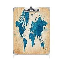 クリップボード 地図 ミニバインダー 古い背景の水彩画の筆で描かれた芸術的なヴィンテージの世界地図装飾 用箋挟 クロス貼 A4 短辺とじネイビーブルーdブラウン