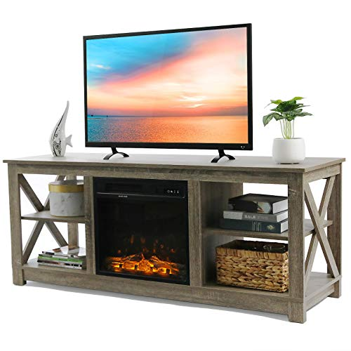 VINGLI Electric Fireplace Media Center, Farmhouse Electric Fireplace TV Stand with Remote, TV Console with Fireplace for TV up to 60'', Barn Wood Gray