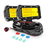 Nilight Led Light Bar 2PCS 5Inch 72W 10800Lumens Yellow Flood Beam Fog Driving Lamps Off-Road Lights with 16AWG Wiring Harness Kit-2 Lead, 2 Year warranty