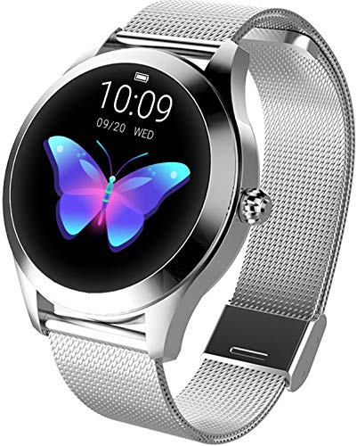 Smartwatch Gold Silber Damen Fitness Armband Elegant Aktivitätstracker IP68 Wasserdicht Schrittzähler Schlaftracker Kalorienverbrauch