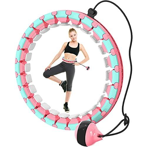 Queta Hula - Aro de fitness Smart desmontable, para cintura y abdomen, para adelgazar en casa, con 24 nudos (contorno de cintura 120 cm), color rosa y azul