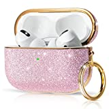 KINGXBAR Stylish AirPods Pro Case Sparkle Glitter Girly Design for Women, Cute Shockproof Protective Hard PC Skin AirPods Pro Cover with Keychain Accessories for Apple AirPods Pro Pink