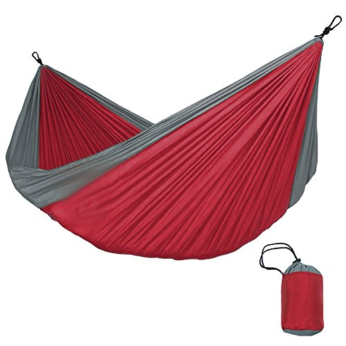Keliour Single Camping Hammock Portable Single Double Hammock Parachute Nylon Hammock Outdoor Indoor Dormitory Adult for Outdoor Hiking Travel Backpacking (Color : Red)