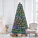 Kerrogee 7 ft Pre-lit Fiber Optic Artificial Christmas Tree, Multi LED Source Firework...
