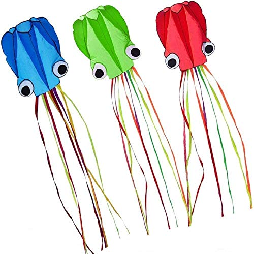 Milky House 3 Pack Octopus Kite, 3D Kite Long Tail Easy Flyer Kites Beach Kites People Adults Gift 3 Colors (Blue Green Red)