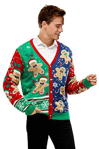Unisex Men's Christmas Sweater Cardigan Ugly Pullover Funny Knitted Santa Reindeer, Medium