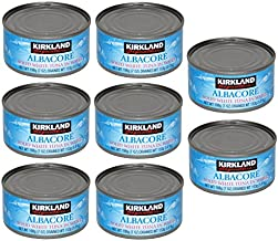 Kirkland Albacore Solid White Tuna in Water – 8 Cans (Total Net Weight 3.5lbs)