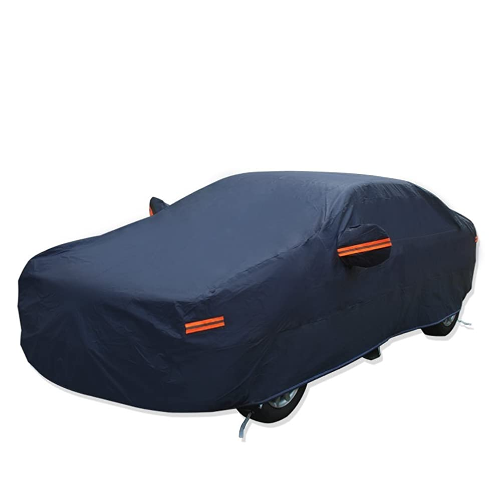 YITAMOTOR Car Cover Hot Welted Seamless PEVA Cotton Lining All Weather Protection Rain Sun Snow Dustproof Waterproof Outdoor Indoor Auto Protector (Fits Cars up to 192'' L, Dark Blue)