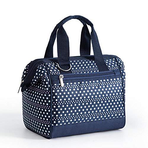 Bolsa de protección del medio ambiente bolsas de almuerzo multifuncionales de aluminio para alimentos, bolsa de almuerzo bolsas de Paul Leng bolsa de picnic al aire libre, azul marino lunares