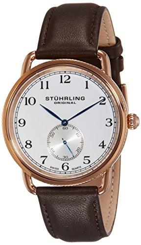 Stuhrling Original Men's 207.04 Cuvette Analog Swiss Quartz Brown Genuine Leather Watch