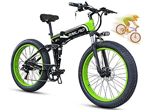 COZY LS Elektrofahrrad E-Bike Mountainbike, 26Zoll*4.0Elektrisches Fahrrad mit 48V 350W Heckmotor 13AH Abnehmbarer Lithium Akku,MTB für Outdoor HerrenDamen Green
