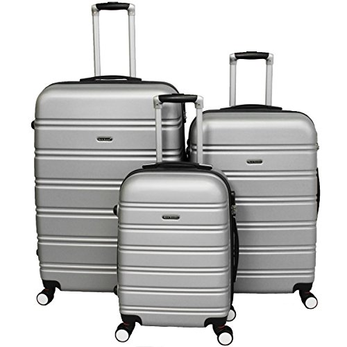 World Traveler Regis Hardside Expandable Spinner Luggage Set, Silver, One Size
