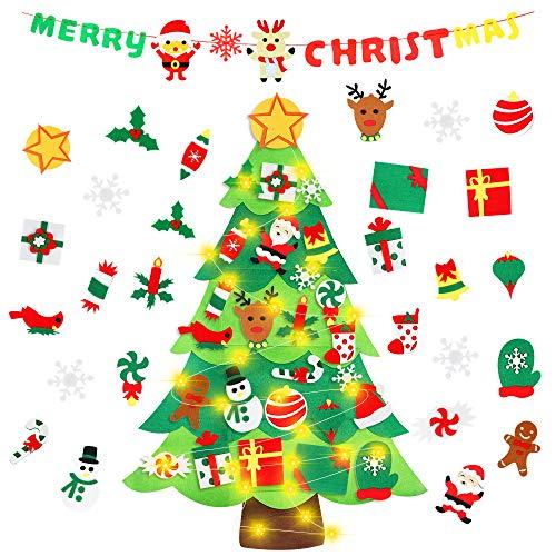 MMTX Kinder Weihnachtsbaum DIY Filz Weihnachtsbaum Set mit abnehmbaren Ornamenten Frohe Weihnachten fühlte Banner für Kinder Neujahr Tür Wandbehang Dekorationen