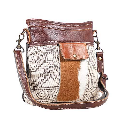 Myra Bag S-1907 Umhängetasche aus Segeltuch, Teppich und Leder