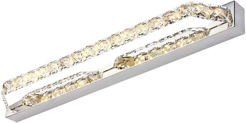 BAIF Mode Einfache Badezimmer Edelstahl Spiegel Frontleuchte Schlafzimmer LED K9 Kristall Wandleuchte (Farbe  Warmes Licht-68CM18W)