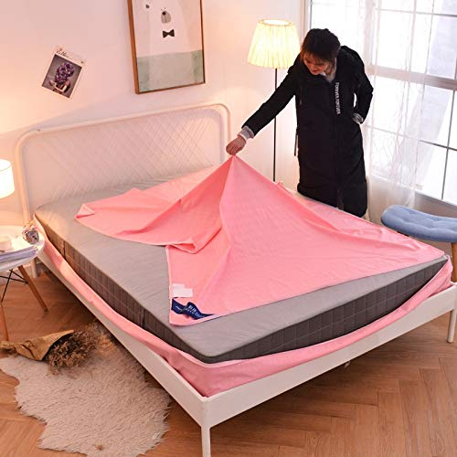 RKRXDH Mattress Protector Waterproof Mattress Protector Pad Six-sided All-inclusive Mattress Cover With Zipper Twin Queen Size Solid Color (Color : Pink, Size : 120x200x20cm)
