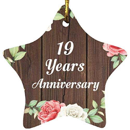 19th Anniversary 19 Years Anniversary - Star Wood Ornament A Christmas Tree Hanging Decor - for Wife Husband Wo-men Her Him Couple Wedding Birthday Anniversary Mother's Father's Day