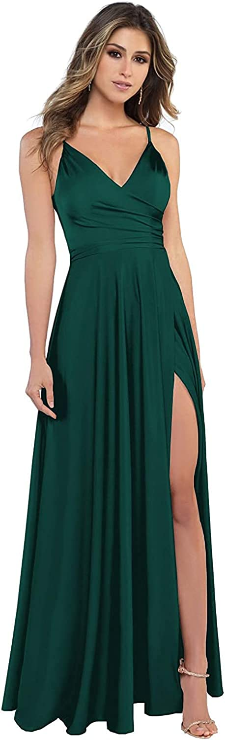 COEYOUES Women's Spaghetti Strap Bridesmaid Dresses Long V-Neck Prom Evening Formal Gowns with Slit