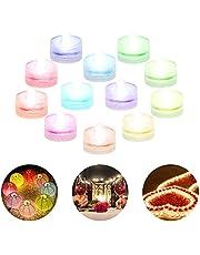 Dumcuw Mini nedsänkbara LED-lampor Återanvändbar Vattentät RGB Flerfärgad Te-lampor Batteridriven Hållbar Undervattensdyklampa för bröllopsfest Bar Pool Vase Firande Dekoration 12 st