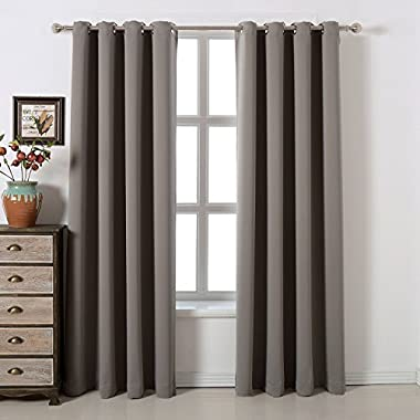 acelitor Blackout Bedroom Curtains Set 100% Polyester Grommet Top Room Darkening Panels Thermal Insulating Draperies For Saving Energy Noise Reduction & UV Rays Blocking Light Grey