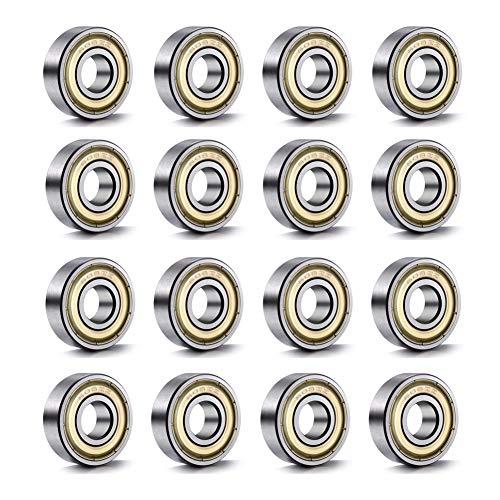 YIXISI 20 Piezas 608 ZZ Rodamiento de Bolas, 608 ZZ Rodamientos de Metal de Doble Blindaje en Miniatura con Ranura Profunda, para la Impresora 3D, Modelo, Skateboard, ABEC-7 (8 x 22 x 7 mm), Plateado