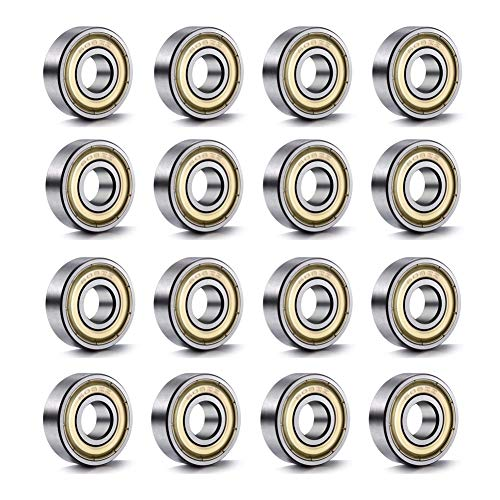 YIXISI 20 Stück 608 ZZ Kugellager, ABEC-7 Metall Doppelt Geschirmte Miniatur-Rillen Kugellager für Skateboard, Roller, Inline Skates (8 mm x 22 mm x 7 mm), Silber