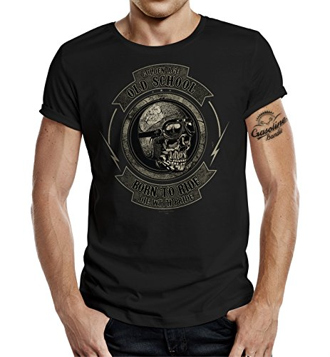 GASOLINE BANDIT® Original Design Biker T-Shirt: Golden Age Old School-L