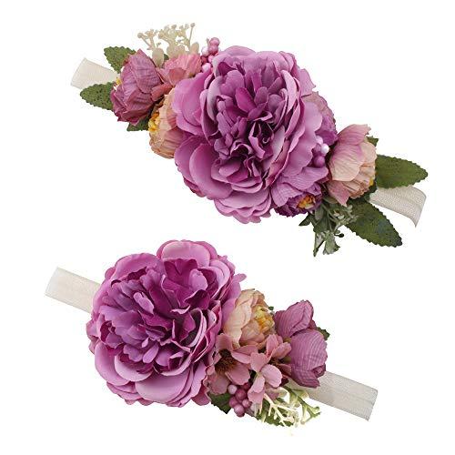 OOSAKU Blumenstirnbänder Blumenhaarband zum Mutter und Baby Elastics Haarschmuck (Lila)
