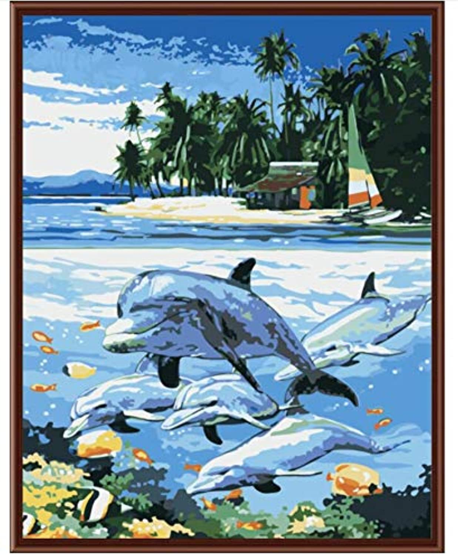 Superlucky Abstrakte Delphin Bild Malen Nach Zahlen Wandkunst DIY Digital Leinwand Öl Paintng Wohnkultur Für Wohnzimmer 40x50cm Mit Rahmen B07J9PYPF1 | Eleganter Stil