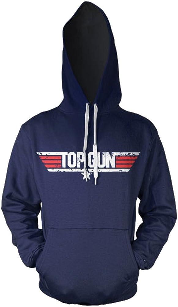 Official Top Gun Distressed Logo Navy Hoodie - Hooded Sweater