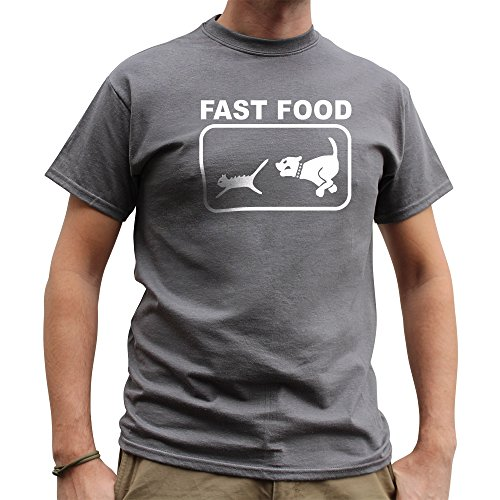 Nutees Fast Food Dog Chasing Cat Funny Hommes T Shirt - Gris Charbon Small