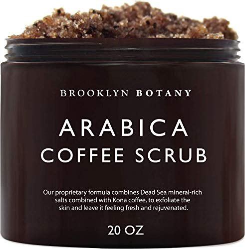 Brooklyn Botany Arabica Coffee Body Scrub & Face Scrub - 100% Natural - Coconut and Shea Butter - Best Anti Cellulite & Stretch Mark Treatment, Spider Vein Therapy for Varicose Veins & Eczema- 20 oz