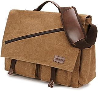Canvas Messenger Bag,15.6 Inch Mens Satchel Water Resistant Briefcases Vintage Shoulder Bag for College Business RAVUO