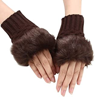 BIGBOBA Half Finger Gloves Plush Thick Knit Gloves Exposed Finger Touch Screen Gloves Winter Autumn Anniversary Gifts Valentine's Day for Men and Women
