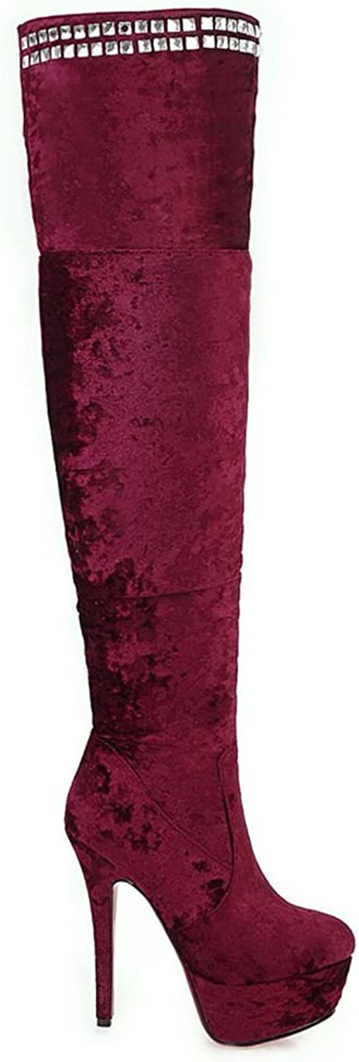 Kaloosh Women's Ultra High Heels Suede Leather Over Knee Long Boots