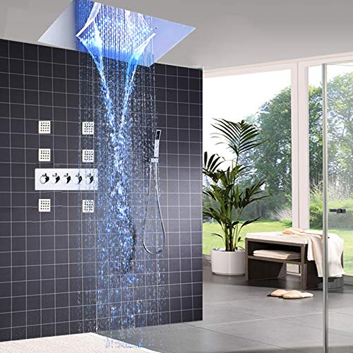 YAMEIJIA Moderne set van LED plafond inbouw douchekraan regendouche stap set massage douche lichaam douchekop badkamer set bad
