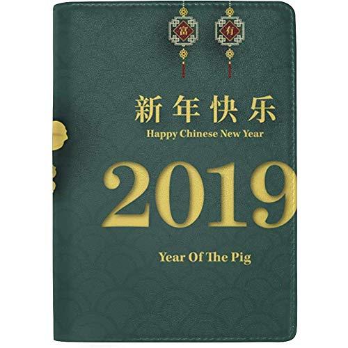 Reisepass Unterwassergehäuse Frohes Neues Jahr Zwölf Chinesisches Sternzeichen Schwein Stilvolle Pu-Leder Reise-Accessoires Uns Reisepasshülle