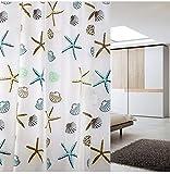 シャワーカーテン 防水 防カビ 加工 浴室 カーテン 風呂カーテン 防水 間仕切り 遮像 リング付属 厚手 取り付け簡単 2デザイン (貝殻柄)