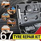XUKEY 67Pc / Set Kit de reparación de neumáticos Herramienta de reparación de Emergencia de pinchazo de neumático, EN Caja, con 40 Cuerdas de enchufes